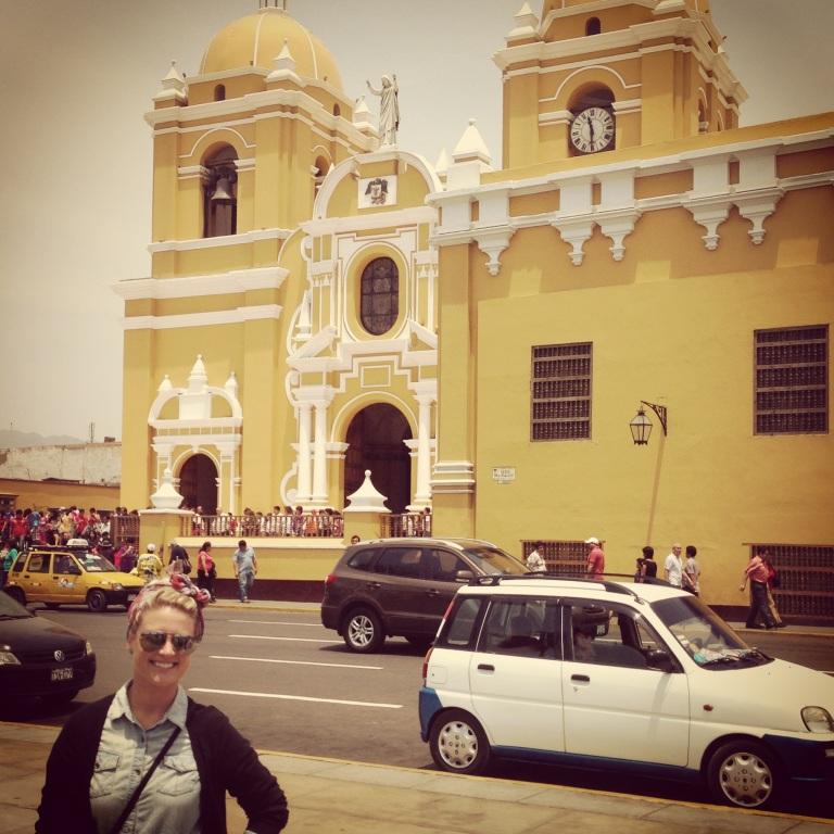 Standing in front of the Catedral Basílica Santa María