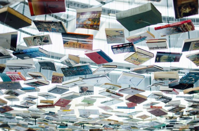 Suspended books | Richard Wentworth: False Ceiling | Efroymson Pavilion | IMA